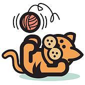 Cat with yarn clip art