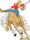Western cowgirl bronco ro