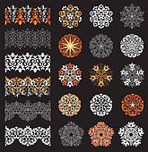 Decorative snowflakes and borders