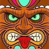 Square Faced Tiki Mask