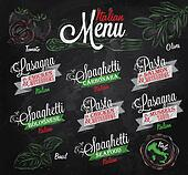 Menu Italian spaghett chalk color