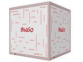 Bingo Word Cloud Concept on a 3D cube Whiteboard