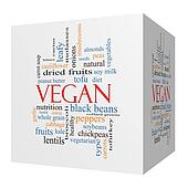 Vegan 3D cube Word Cloud Concept