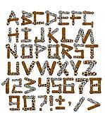 3d alphabet in style of a safari