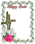 Easter Border Religious Cross symbo