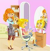Service girl in beauty salon