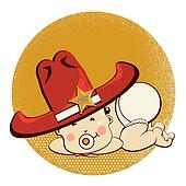 Cowboy little baby with big western sheriff hat