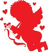 Cupid Red Silhouette