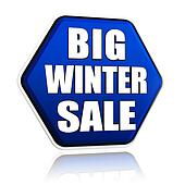 big winter sale in 3d blue hexagon banner