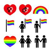 Gay and lesbian couples, rainbow