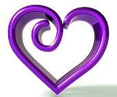Purple swirly heart 3d image