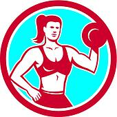 Personal Trainer Female Lifting Dumbbell Circle