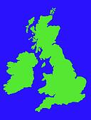 Outline map of United Kingdom in green
