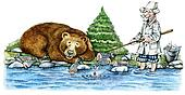 Bear and doctor fishing