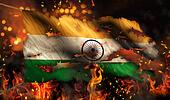 India Burning Fire Flag War Conflict Night 3D
