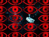 Security concept: cctv camera icon on Digital background