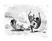 A Bullet Explodes on Three Natives in Angola, Southern Africa, vintage engraving