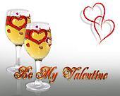 Valentine Border hearts and wine