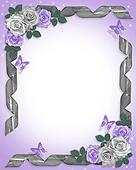 Lavender roses and ribbons Border