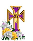 Easter Cross and flowers Background