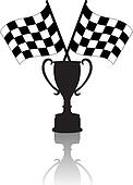 Crossed Checkered Flags and Victory