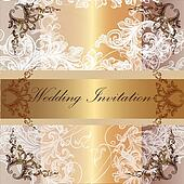Wedding invitation card in pastel  and golden colors