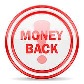 money back red white glossy web icon