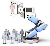 Robotic arm find choose best person