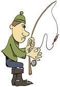 Cartoon fisherman with a fishing rod