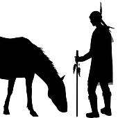 American Indian silhouette with horse