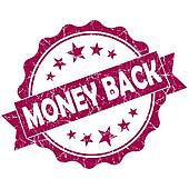 Money back pink vintage round grunge seal isolated on white background