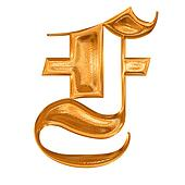 Golden pattern gothic letter F