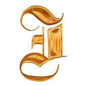 Golden pattern gothic letter I