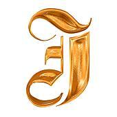 Golden pattern gothic letter J