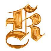 Golden pattern gothic letter K
