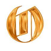 Golden pattern gothic letter O