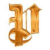 Golden pattern gothic letter P