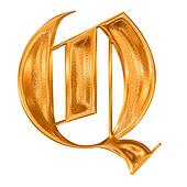 Golden pattern gothic letter Q