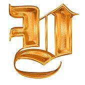 Golden pattern gothic letter V