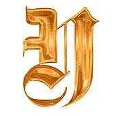 Golden pattern gothic letter Y