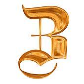 Golden pattern gothic letter Z