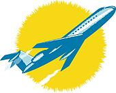 Jumbo jet plane in flight