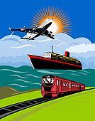 Plane,train and ship
