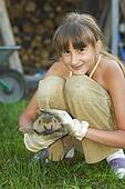 girl with hedgehog