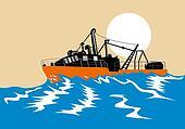 Fishing boat battling stormy seas