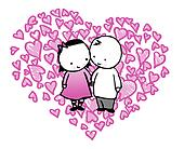 valentine couple in a heart