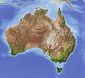 Australia, shaded relief map