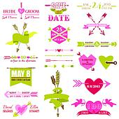Valentine and Wedding Graphic Set - Arrows, Feathers, Heart, Ribbons and Labels - in vector