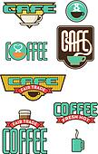 Set of 8 coffee and cafe designs