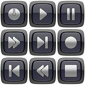 Set of abstract media player 3d buttons